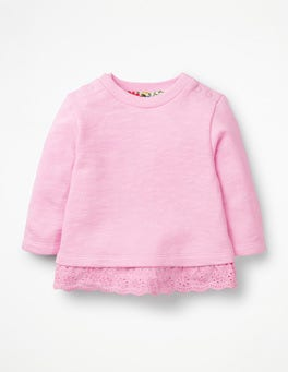 Parasol Pink Frilly Broderie Sweatshirt