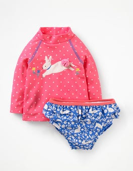 Brush Pink Spot Two Piece Rash Guard Set