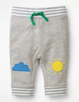 Grey Marl Weather Appliqué Patch Pants