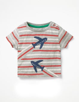 Grey Marl/Beam Red Plane Stripy Transport T-shirt