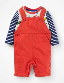 Beam Red Jersey Dungarees Set