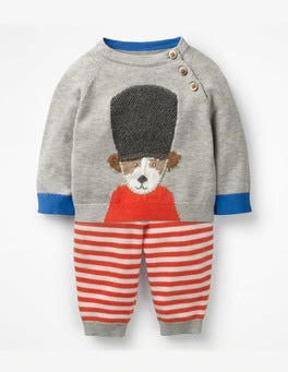 Grey Marl Soldier Sprout Soldier-on Knitted Play Set