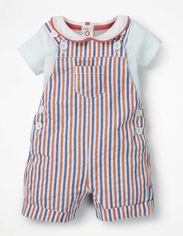 Multi Ticking Dungaree and Body Set