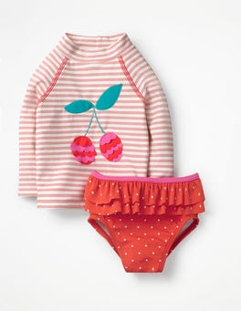 Shell Pink/Ivory Rash Vest and Pant Set