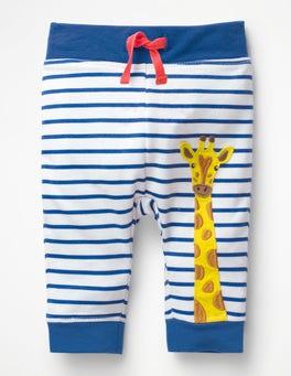 White/Duke Blue Giraffe Appliqué Patch Pants
