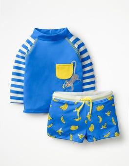 Blue Oasis/Ivory Monkey Rash Vest and Pant Set