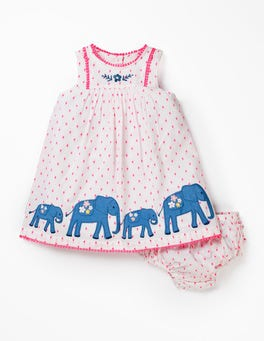 Ivory Dobby Elephants Embroidered Detail Dress