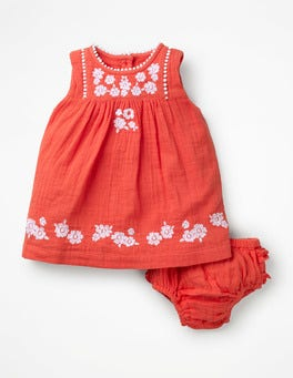 Tropical Coral Embroidery Embroidered Detail Dress