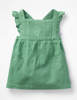 Patina Green Ruffly Pinafore Dress