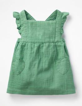 Patina Green Ruffly Pinafore Dress