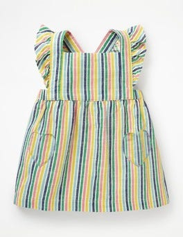 Multi Candy Stripe Ruffly Pinafore Dress
