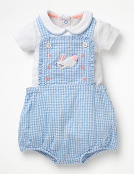 Lake Blue Gingham Gingham Romper and Body Set