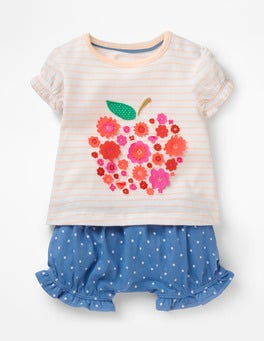 White/Provence Pink Apple Fluttery Appliqué Play Set