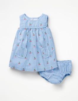 Cherry Clip Dot Detailed Woven Dress