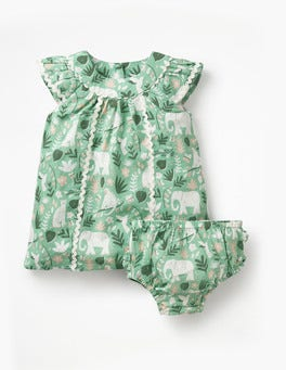 Turtle Green Indian Garden Tropical Printed Dress