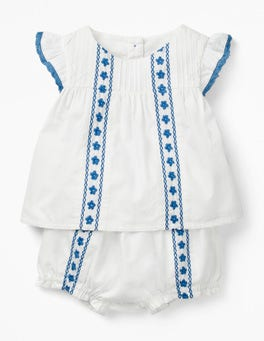 White Floral Embroidery Sunny Days Woven Play Set