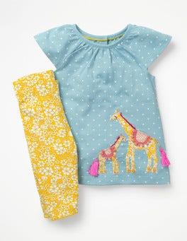Mineral Blue Giraffes Big Animal Appliqué Dress Set
