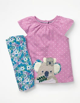 Parasol Pink Koalas Big Animal Appliqué Dress Set