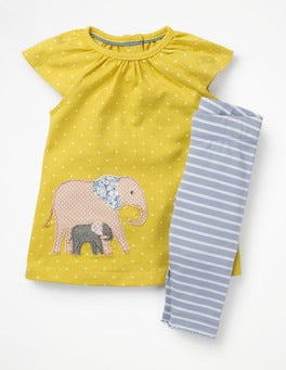 Mimosa Yellow Elephant Big Animal Appliqué Dress Set