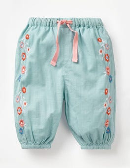 Mineral Blue Embroidery Detailed Woven Trousers