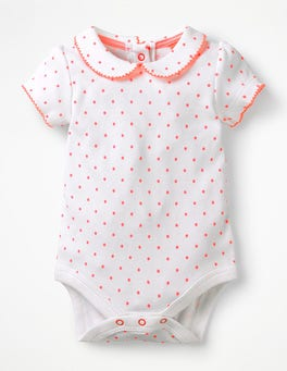 White/Bright Flamingo Spot Detailed Collared Bodysuit