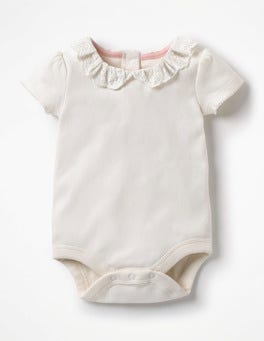White Broderie Detailed Collared Bodysuit