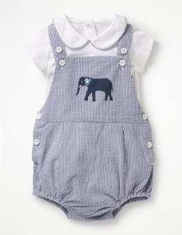 Lagoon Blue Elephant Ticking Ticking Romper and Body Set