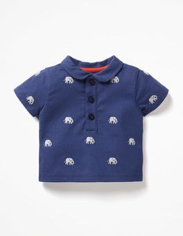 Shale Grey Elephant Embroidery Embroidered Polo T-shirt