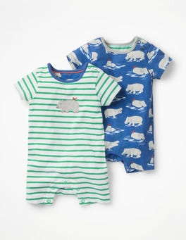 Twin Pack Hippo Rompers