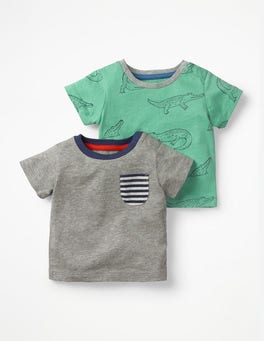 Turtle Green Doodle Crocs Twin Pack T-shirts