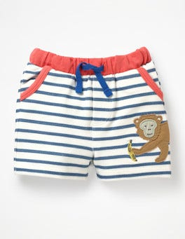 White/Lagoon Blue Monkey Fun Jersey Shorts