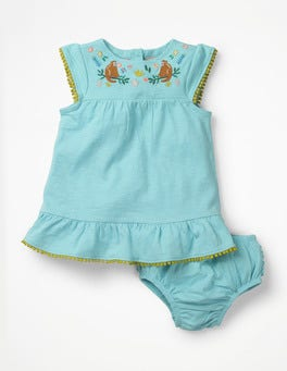 Mineral Blue Monkeys Jungle Embroidered Dress