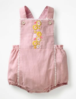 Chalk Pink Embroidery Floral Embroidered Romper