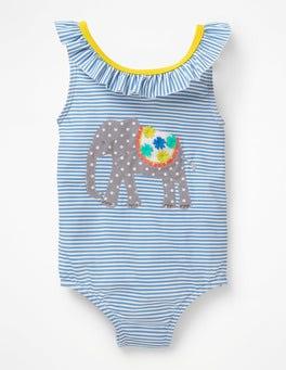 Warm Blue/Ivory Elephants Bow Detail Swimsuit