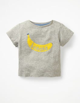Grey Marl Banana Printed Graphic T-shirt