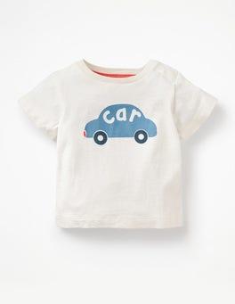 White Car Printed Graphic T-shirt
