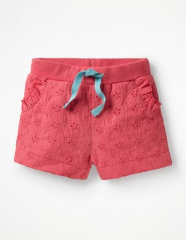 Rosette Pink Woven Broderie Shorts