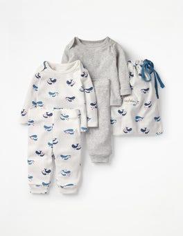 Naturweiß, Babywale Bequemes Pointelle-Set mit Walmotiv