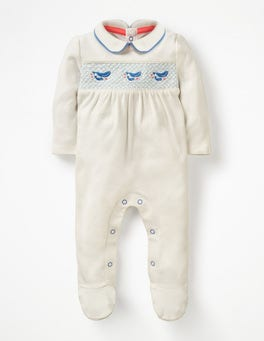 Ivory Baby Whales Smocked Whales Sleepsuit