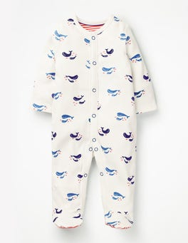 Ivory Baby Whales Cosy Printed Sleepsuit