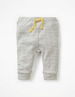 Ivory/Grey Marl Stripe Stripy Ribbed Leggings