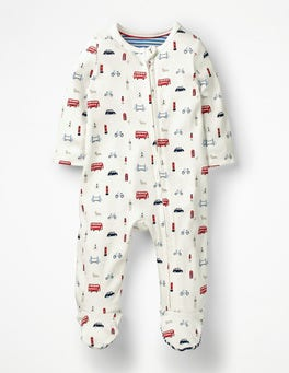 Ecru Little London Printed Zip-up Sleepsuit