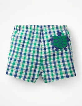 Astro Green Gingham Turtle Fun Pocket Bathers