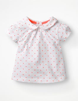 White and Bright Flamingo Spot Broderie Collar T-shirt
