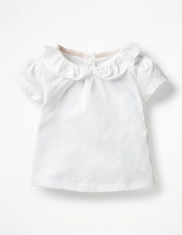 White Broderie Collar T-shirt