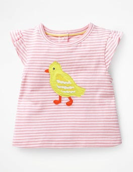 White/Shell Pink Chick Summer Appliqué T-shirt