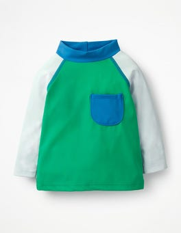 Astro Green Colourblock Rash Vest