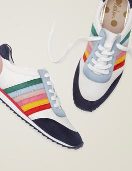 White and Rainbow Striped Trainers
