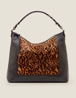 Tan Leopard/Black Stamford Shoulder Bag