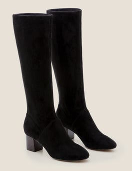 Black Round Toe Stretch Boots